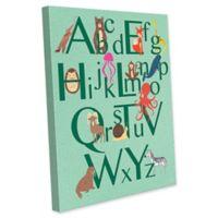Astra Art Alphabet Animals 20-Inch x 24-Inch Canvas Wall Art in Green