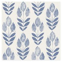 Beacon House Block Print Tulip Wallpaper in Blue