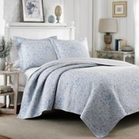 Laura Ashley® Mia Reversible Twin Quilt Set in Pebble
