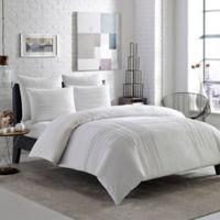 City Scene Variegated Pleats 3-Piece Full/Queen Comforter Set in White