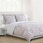Bryon Reversible Full/Queen Comforter Set in Coral
