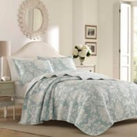 Laura Ashley® Venetia Reversible King Quilt Set in Blue