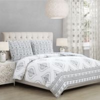 Solange King Comforter Set in White/Grey
