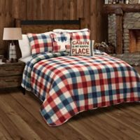 Lush Décor Ace Checker Reversible King Quilt Set in Red