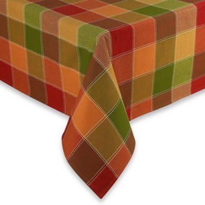 Autumn Check 52 Inch X 70 Inch Oblong Tablecloth