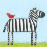 Marmont Hill 18-Inch Square Zebra with Red Bird Wall Art