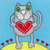 Marmont Hill Cat with Heart 40-Inch Square Canvas Wall Art