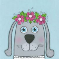 Marmont Hill Dog with Flowers 32-Inch sq. Canvas Wall Art