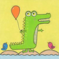 Marmont Hill Crocodile with Balloon 40-Inch sq. Canvas Wall Art