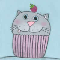 Marmont Hill Kitten with Raspberry 18-Inch Square Canvas Wall Art