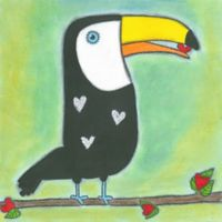 Marmont Hill Sweet Toucan 18-Inch Square Canvas Wall Art