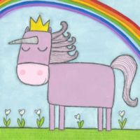 Marmont Hill Princess Unicorn 24-Inch Square Canvas Wall Art