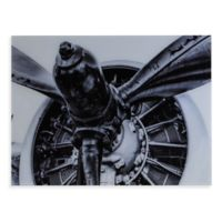 Southern Enterprises Old Aircraft Propeller Engine 32-Inch x 24-Inch Glass Wall Art
