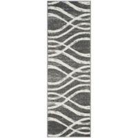 Safavieh Adirondack Curved Lines 2-Foot 6-Inch x 6-Foot Runner in Charcoal/Ivory
