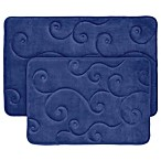 Nottingham Home 2-Piece Embossed Memory Foam Bath Mat in Navy