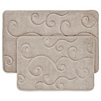 Nottingham Home 2-Piece Embossed Memory Foam Bath Mat in Taupe