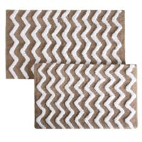 Notthingham Home 2-Piece Chevron Bath Mat Set in Taupe