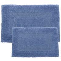 Nottingham Home Reversible Bath Mat in Blue (Set of 2)