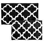 Nottingham Home Trellis Bath Mat (Set of 2) in Black