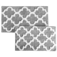 Nottingham Home Trellis Bath Mat (Set of 2) in Silver