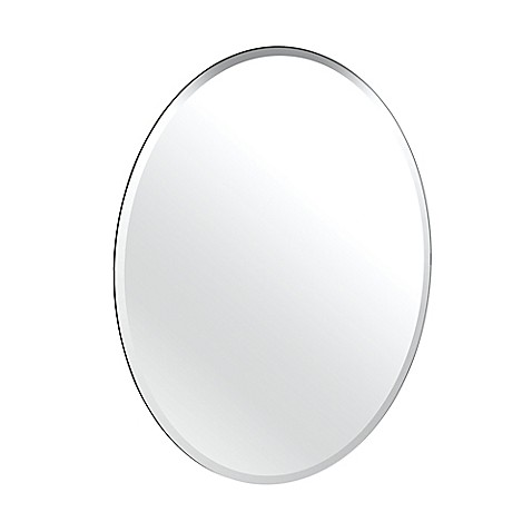 image of Gatco® Flush Mount Frameless 24-Inch x 32-Inch Oval Mirror