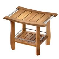 Gatco® Teak Rectangle Shower Bench with Storage Shelf