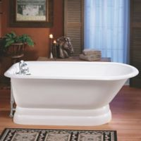 "Cheviot Traditional 61"" Roll Rim Cast Iron Bathtub w/ Drill and Pedestal Base in White"