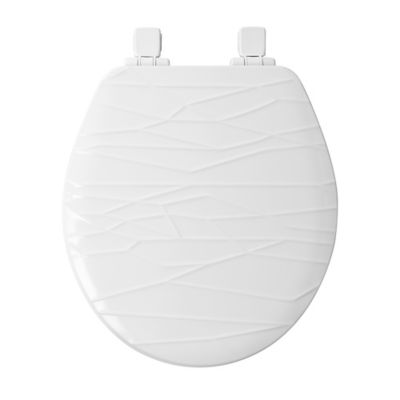 white wooden toilet seat. Mayfair Round Molded Wood Geometric Design Toilet Seat with Whisper Close  in White Buy Seats from Bed Bath Beyond