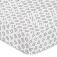 Sweet Jojo Designs Feather Tribal Geometric Print Fitted Crib Sheet in Grey
