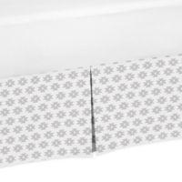 Sweet Jojo Designs Feather Tribal Geometric Print Crib Skirt in Grey