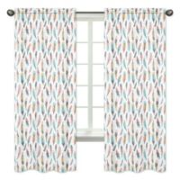 Sweet Jojo Designs Feather 84-Inch Window Panels in Turquoise/Coral (Set of 2)
