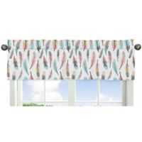 Sweet Jojo Designs Feather Window Valance in Turquoise/Coral