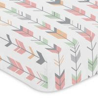 Sweet Jojo Designs Mod Arrow Print Fitted Crib Sheet in Coral/Mint
