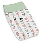 Sweet Jojo Designs Mod Arrow Changing Pad Cover in Coral/Mint