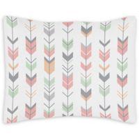 Sweet Jojo Designs Mod Arrow Standard Pillow Sham in Coral/Mint