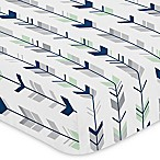 Sweet Jojo Designs Mod Arrow Print Fitted Crib Sheet in Navy/Mint