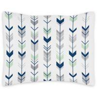 Sweet Jojo Designs Reversible Standard Pillow Sham in Navy/Mint