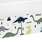 Sweet Jojo Designs Mod Dinosaur Print Crib Skirt in Turquoise/Navy