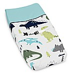 Sweet Jojo Designs Mod Dinosaur Print Changing Pad Cover in Turquoise/Navy
