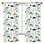 Sweet Jojo Designs Mod Dinosaur Print 84-Inch Window Panels in Turquoise/Navy (Set of 2)