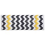 InterDesign® 60-Inch x 21-Inch Microfiber Chevron Bath Runner in Yellow/Grey