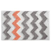 iDesign® 34-Inch x 21-Inch Microfiber Chevron Bath Rug in Grey
