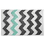 InterDesign® 34-Inch x 21-Inch Microfiber Chevron Bath Rug in Aruba Teal