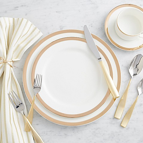 image of Nevaeh® White by Fitz and Floyd® Grand Rim Gold Dinnerware Collection