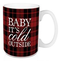 """Designs Direct """"Baby it's Cold Outside"""" Plaid Coffee Mug in Black/Red"""