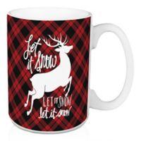 "Designs Direct ""Let It Snow"" Plaid Coffee Mug in Black/Red"