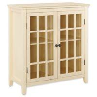 Linon Home Leslie Double Door Cabinet in Yellow