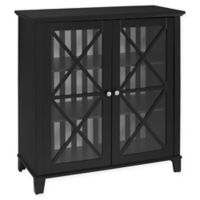 Linon Home Rapture Awning Stripe Large Cabinet in Black