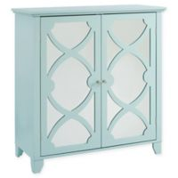 Linon Home Large Cabinet with Mirror Door in Seafoam