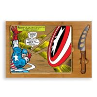 Picnic Time® Captain America Icon Wood Cutting Board & Knife Set